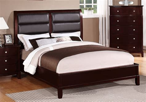 cherry bedroom furniture leather headboard wood bed transitional master bedroom queen king bed faux leather