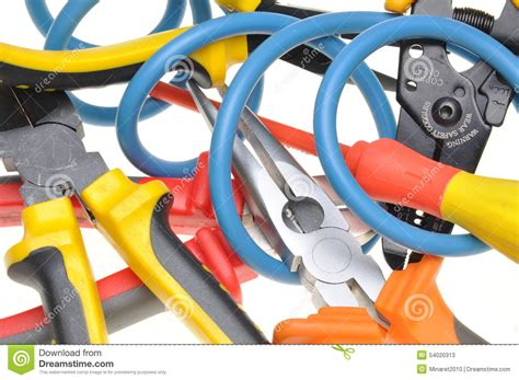 tools and cable used in electrical installations stock