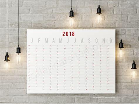 Year Wall Planner Horizontal Calendar Template 2018 Yearly Wall Calendar Template