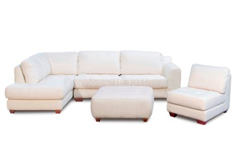 Top Grain Leather Sectional Sofa White Top Grain Leather Modern Zen Sectional Sofa W Options