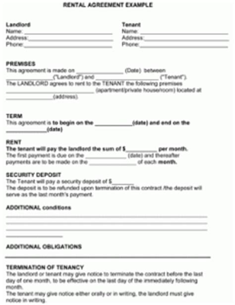 one page rental agreement template 7 one page lease agreement printable receipt