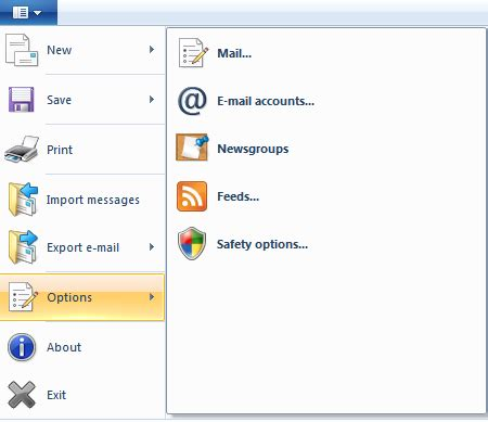 snapshots of the windows live mail 2011 ribbon gui