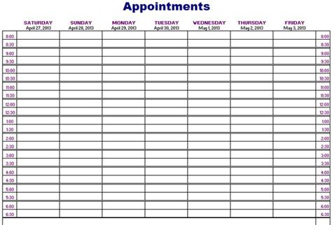 Weekly Appointment Calendar Template 2018