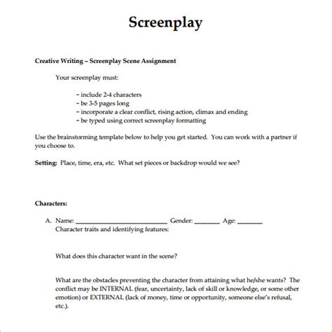screenplay format template sle screenplay 6 documents in pdf word