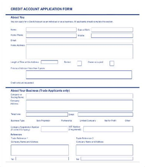 Sle Credit Line Application Form business account application form template 28 images