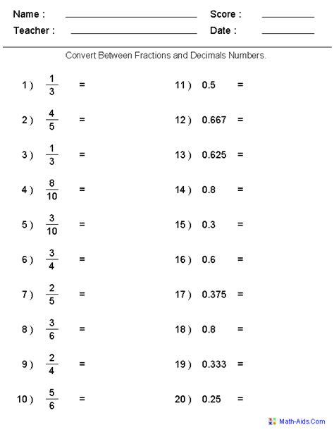 printable decimal quiz converting between fractions decimals worksheets
