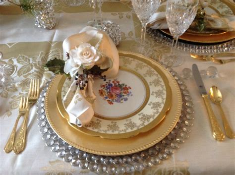 Dining Room Place Settings Dining Room Place Setting And Gold Chargers With Antique China Cover Plate Trimmed