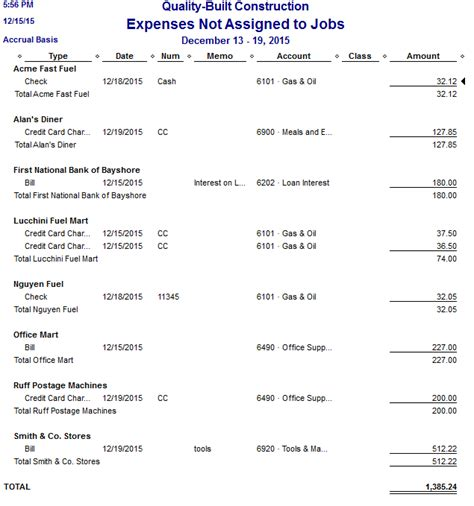 Quickbooks Customer Contact List Report by Expenses Not Assigned To