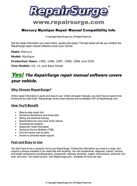 service manuals schematics 1998 mercury mystique interior lighting mercury mystique online repair manual for 1995 1996 1997 1998 1999 and 2000 by repairsurge