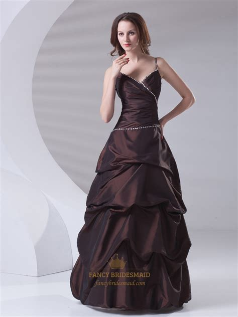 prom dress upskirt brown spaghetti strap v neck taffeta prom dress with pick