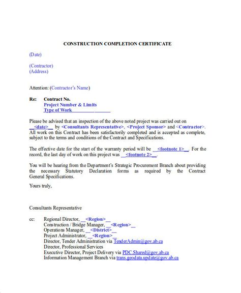 certification letter construction 26 completion certificate exles psd pdf word