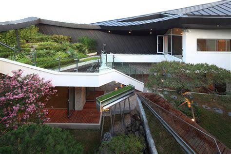 modern home design korea cutout roof design modern house designs