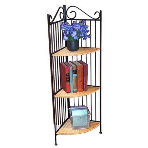 wicker and metal 3 tier corner bookcase dcg stores