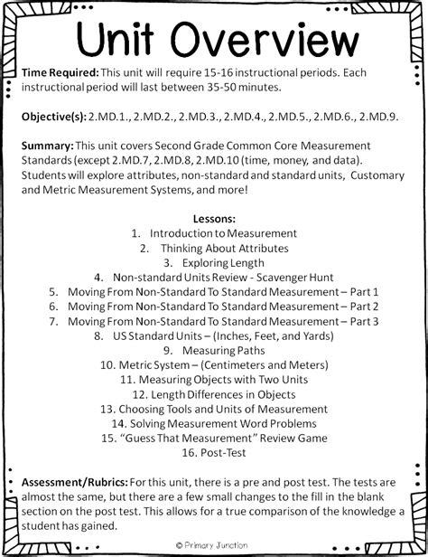 primary junction second grade common measurement unit