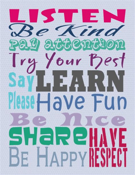 printable poster classroom rules general rules we love english