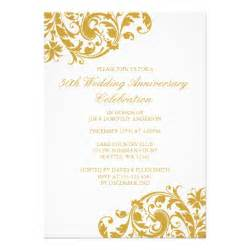 50th wedding anniversary gold swirl flourish 5x7 paper invitation card zazzle