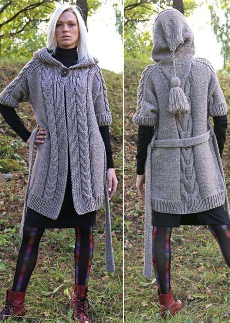 Hooded Knitted Coat jacket and coat knitting patterns in the loop knitting