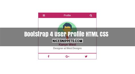 css layout snippets bootstrap 4 user profile design usign with html and css