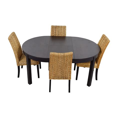 round with 4 chairs 66 off macy s ikea round black dining set with
