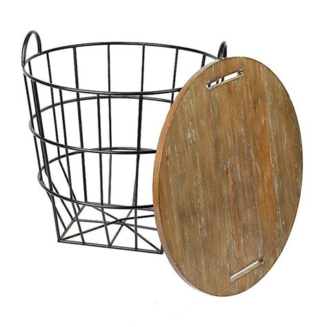 wire and wood basket side table industrial wire and wood basket side table wood basket