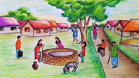 draw scenery  people busy   villagestep