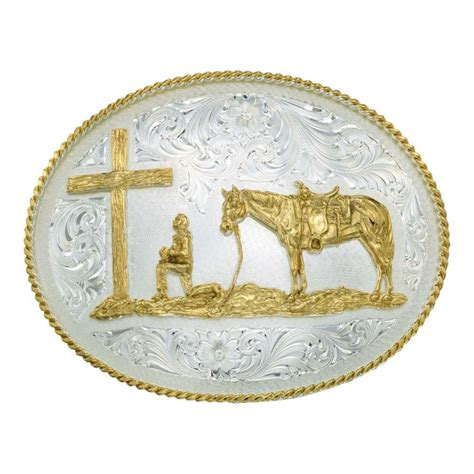 Flower Decor For Home 61354 Silver Engraved Western Belt Buckle With Christian