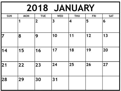 january calendar template january 2018 calendar printable template pdf with holidays