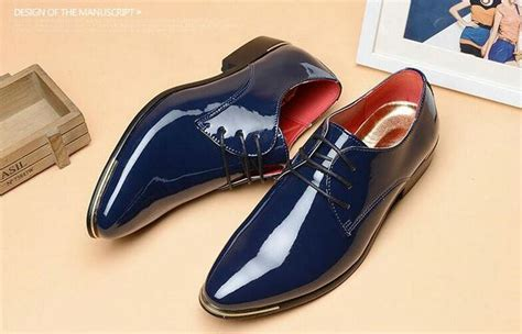 brand mens patent leather shoes dress shoes lace up pointed toe flats with heighten 5 colors