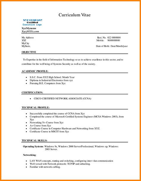 Bca Resume Format For Freshers by 12 Bca Resume Basic Fresher Formats Bike Friendly