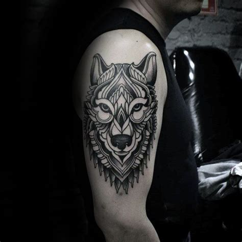animal tattoo upper arm geometrische 90 wolf tattoo designs f 252 r m 228 nner manly ink
