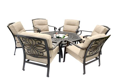 Gregg Wallace 6 Chair Firepit Set With 150cm Low Hexagonal Firepit Table And Chairs
