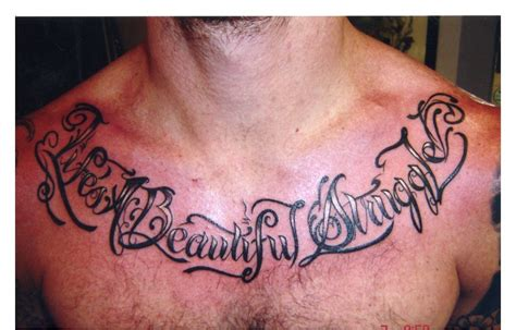 Tattoo Chest Words | word tattoo on chest