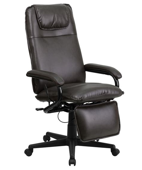 Reclining Back Chair flash furniture high back brown leather executive reclining office chair ebay
