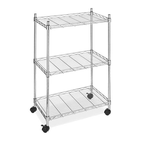 3 tier wire utility cart rolling shelving storage rack
