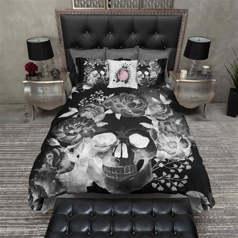 skull bed black night watercolor skull bedding ink and rags