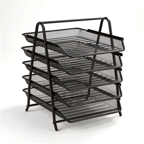 desk paper tray mind reader 5 tier steel mesh paper tray desk organizer