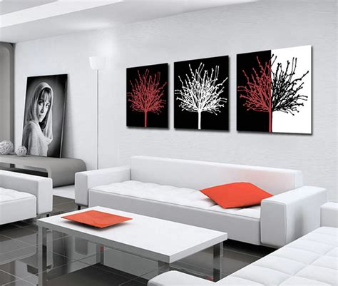 aliexpress com buy unframed 3 sets abstract tree modern canvas wall art home wall decor hd unframed 3 sets canvas painting black white red trees art