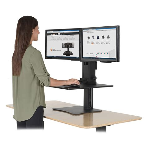 sit and stand desk victor dc350 high rise dual monitor sit stand desk