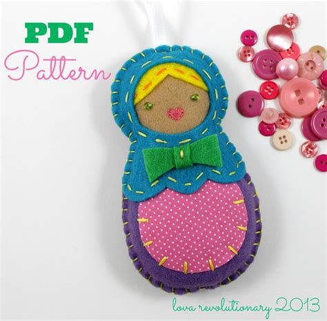 felt craft projects patterns felt nesting doll ornament pdf pattern by lovahandmade