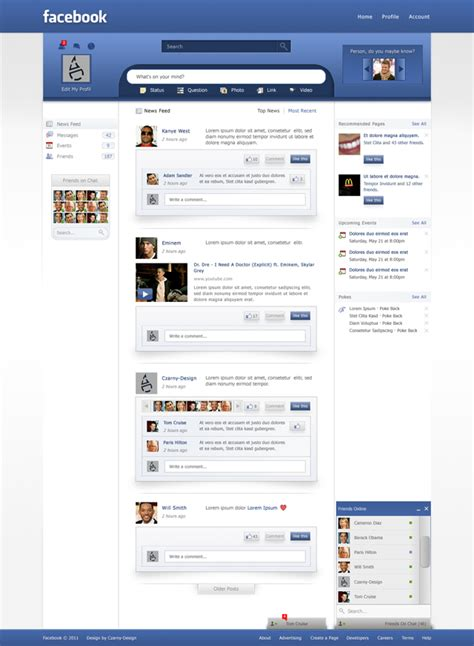 facebook themes website facebook redesign 10 different layout design