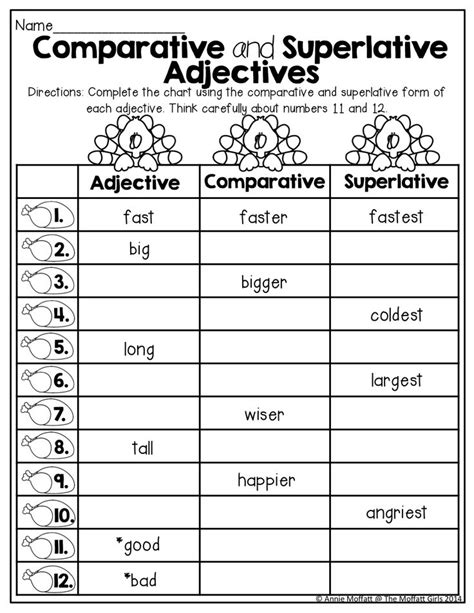 comparative and superlative worksheets with pictures 17 best images about therapy comparatives superlatives on to work student and