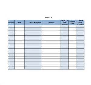 list of templates asset list template 8 free sle exle format
