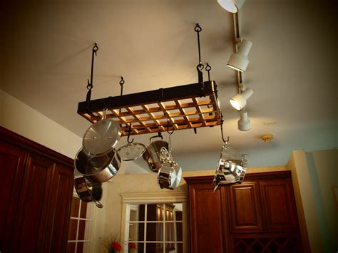 Kitchen Pot Hanging Rack With Lights Wooden Hanging Pot Rack Cosmecol