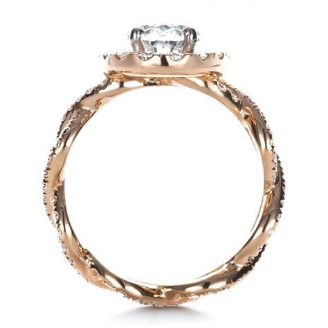 Handmade Gold Engagement Rings - custom halo gold engagement ring 1390