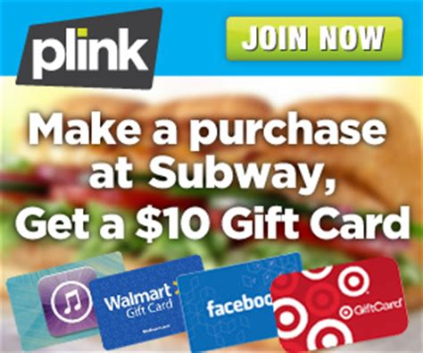 Subway Gift Card Codes - plink deal free 10 gift card with subway purchaseliving rich with