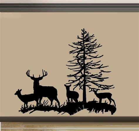 buck two deer family buck doe and two fawns wall decal ebay