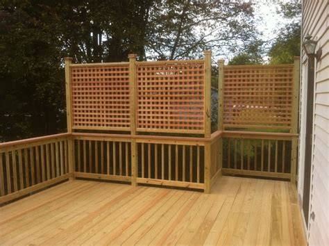 deck privacy lattice presure treated deck with cedar cap rail and privacy
