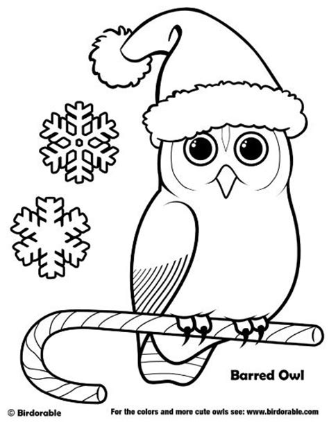 Printable Christmas Owl Coloring Pages | cute cartoon owls coloring pages