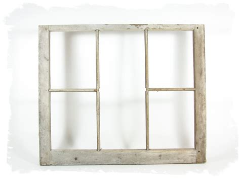 vintage wood window frame 5 pane without glass by