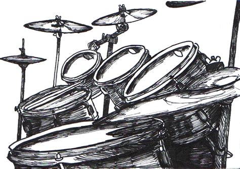 my drumkit in ink by turk himself on deviantart